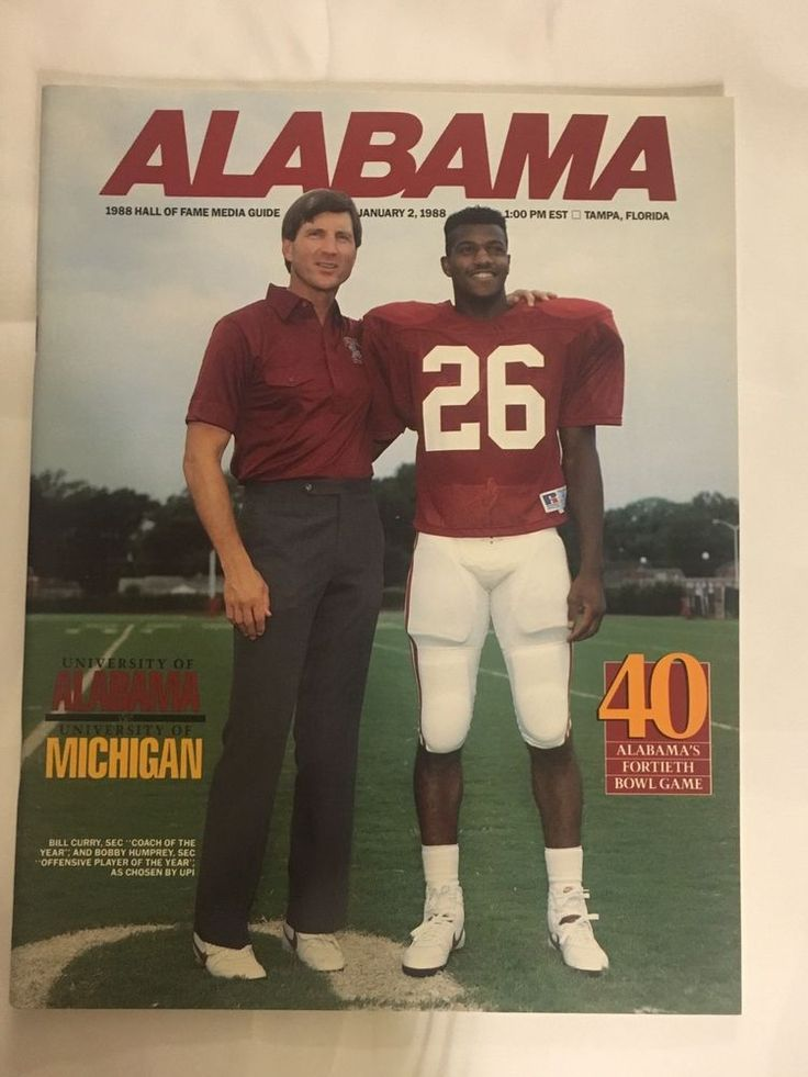 1988 Hall Of Fame Game Alabama Football Media Guide  | eBay
