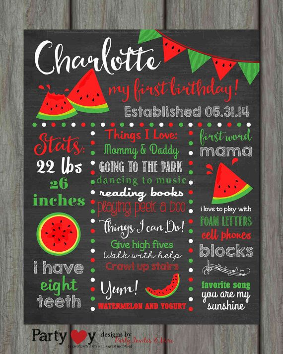 Watermelon Birthday Chalkboard Poster First by PartyInvitesAndMore