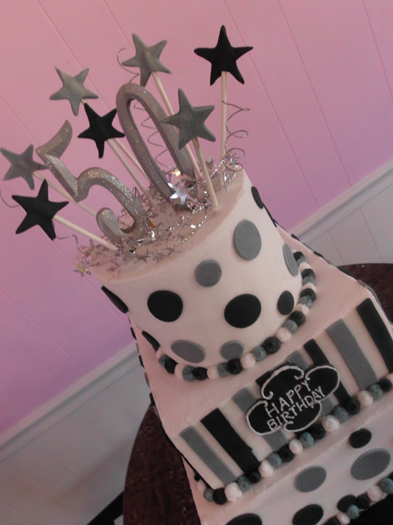 Hand made fondant stars and number cake topper set by shannondean4, for Mimi's birthday