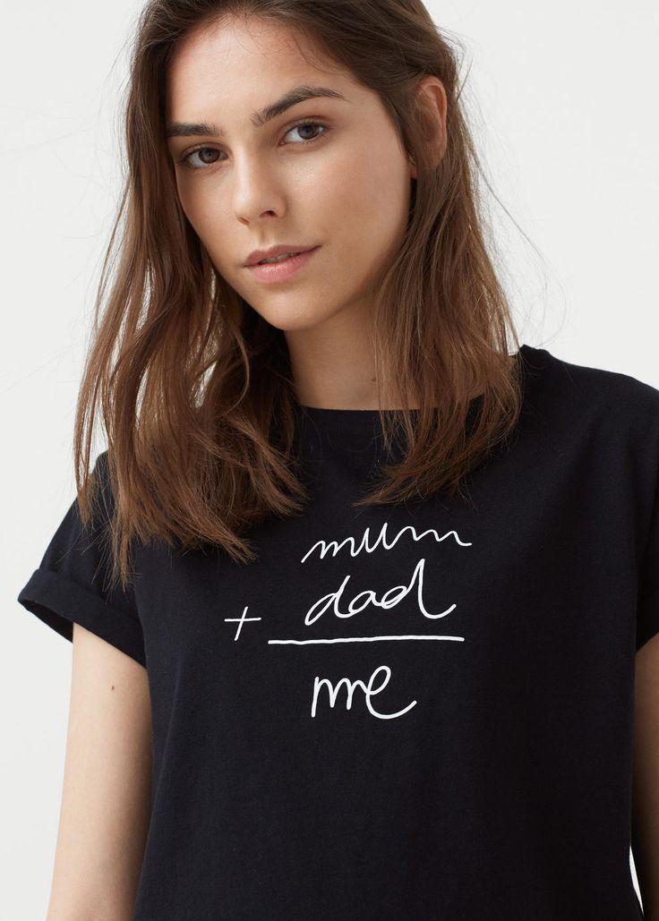 Хлопковая футболка с принтом - Футболки - Женская | MANGO МАНГО Россия…