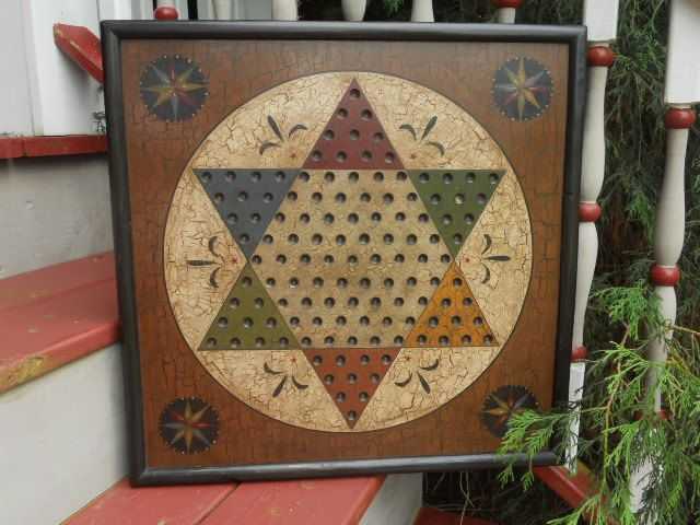 Primitive Chinese Checker Game Board Folk Art Antique Reproduction