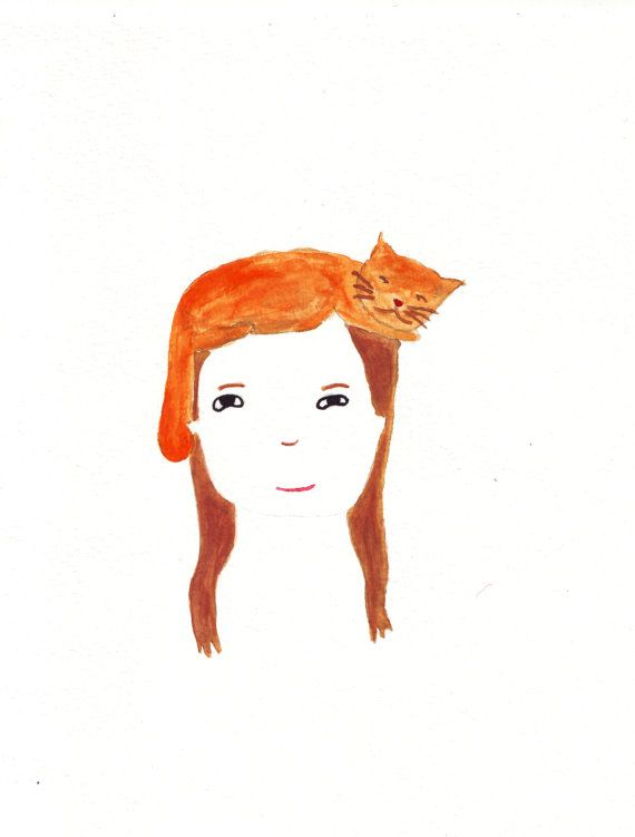 Cat head girl watercolour illustration original artwork by inschy, $15.00