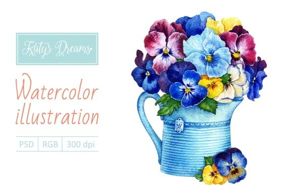 Watercolor Pansies in a pot by Mikheeva Ekaterina on Creative Market