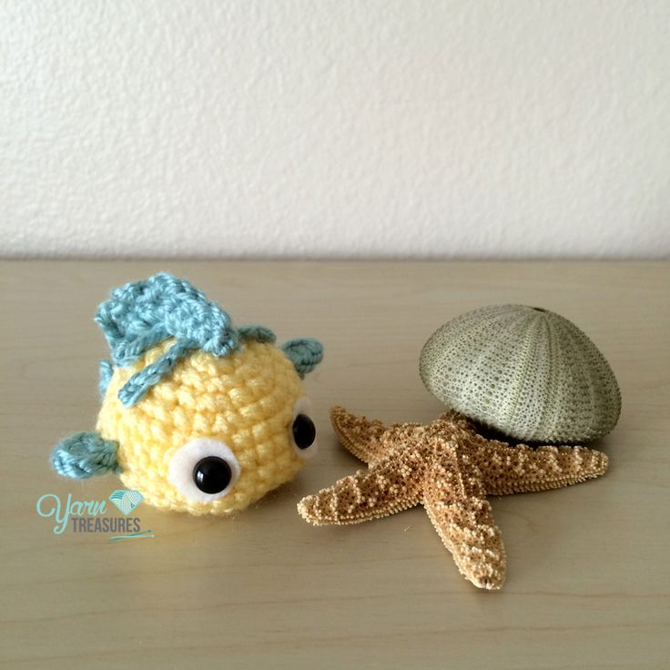 "Flounder Ball the Fish (from ""The Little Mermaid"") Free Amigurumi Pattern here: http://www.yarntreasures.com/flounder-ball-free-pattern/"