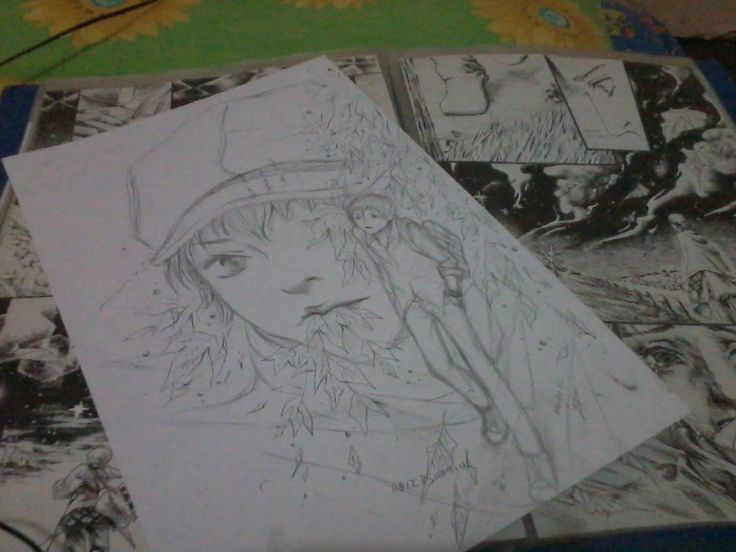 Just for fun quick doodle on the backside of my comic manuscript.. Took a pict of it before I inking the comic and it's come thru the paper.. #illustration #artwork #art #doodle #sketch #manga #boy