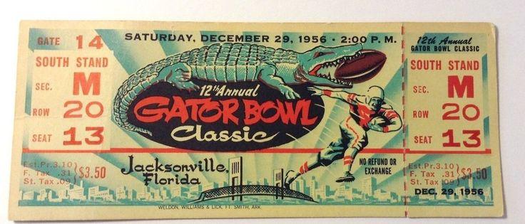 1956 Football Full Ticket 12th Annual Gator Bowl Classic Jacksonville, FL