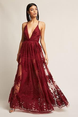 95f756efac0 Plunging Floral Mesh Maxi Dress