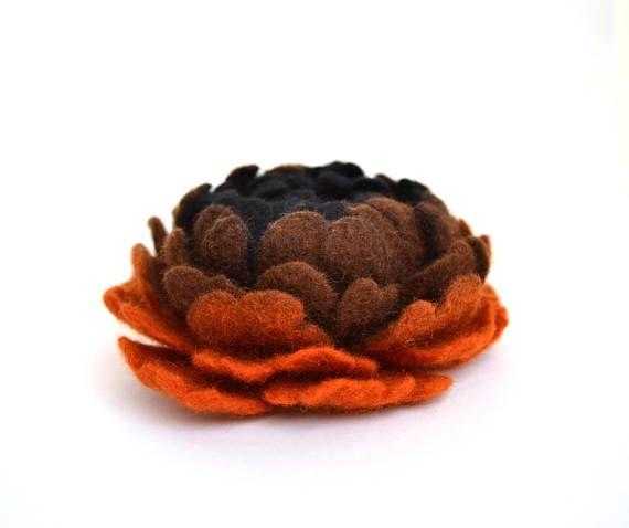 Felt flower brooch Orange and black flower brooch Felted