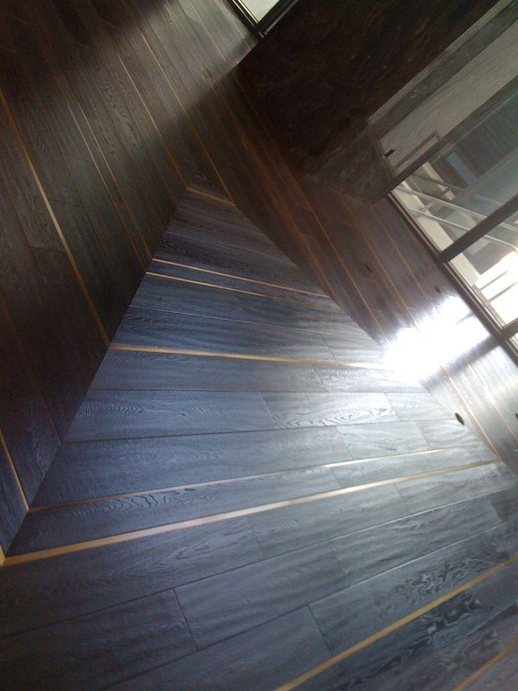 Wood floors with metal inlays