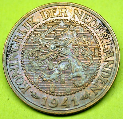 1941 Netherlands WW II TONED 2.5 Cents HIGH GRADE Coin