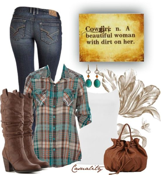 For those days when I feel like roughing it a little. Plaid button up, skinny jeans, cowboy boots, and turquoise accessories.