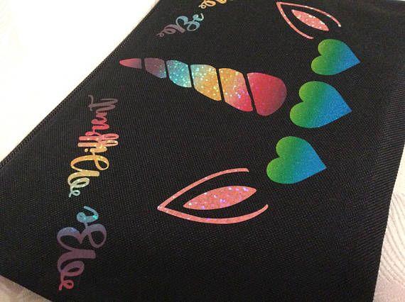 Custom makeup bag. Metallic vinyl. Can be personalised. Gift idea, Christmas.