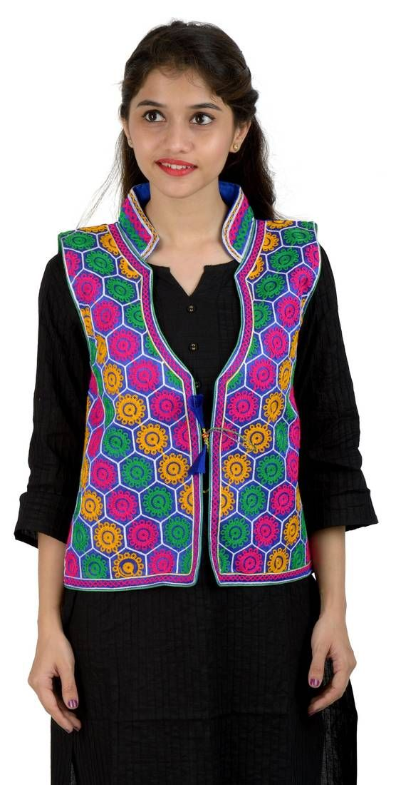 93bb6cb929 Blue kutchi embroidered dupion silk waist length jacket women ethnic wear |  Inspiring Me... | Dupion silk, Jackets for women, How to wear