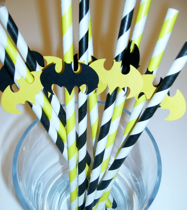 10 Fun Batman inspired Straws, Party Favor Birthday Party, Baby Shower Little Man (943S)