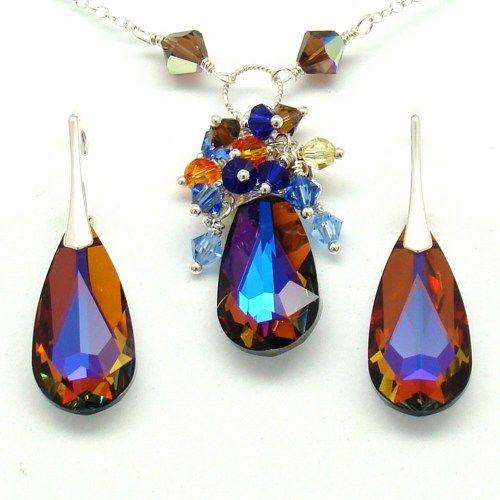 Amber Cobalt Jewelry Set, Swarovski Sterling Necklace Earrings Peacock