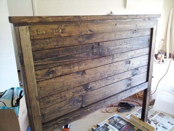 Furniture Rustic Wood Bed Headboards With Mantel Having: Rustic Barnwood Headboard By CR3ATIONSBYDEZI On Etsy, $225