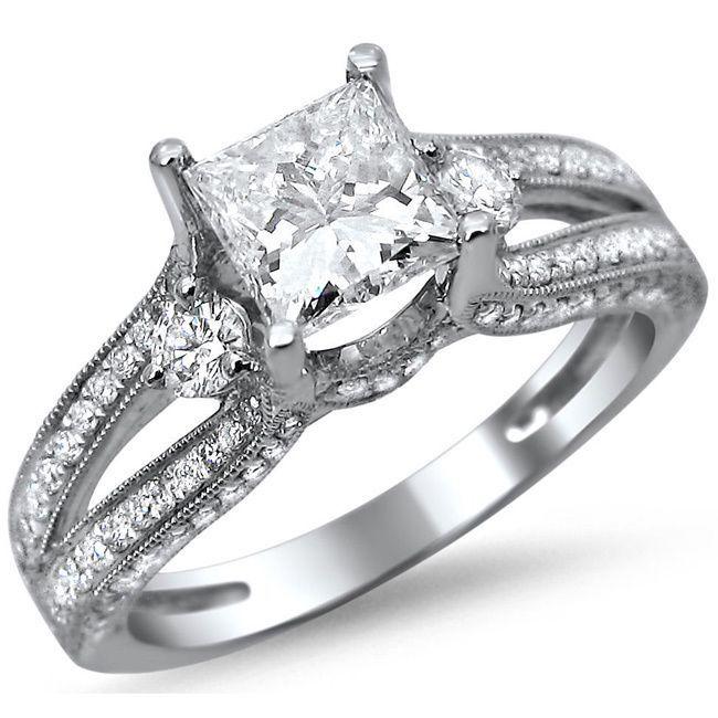 Noori 14k White Gold 1 1 2ct TDW Enhanced Princess Cut Diamond Engagement Rin