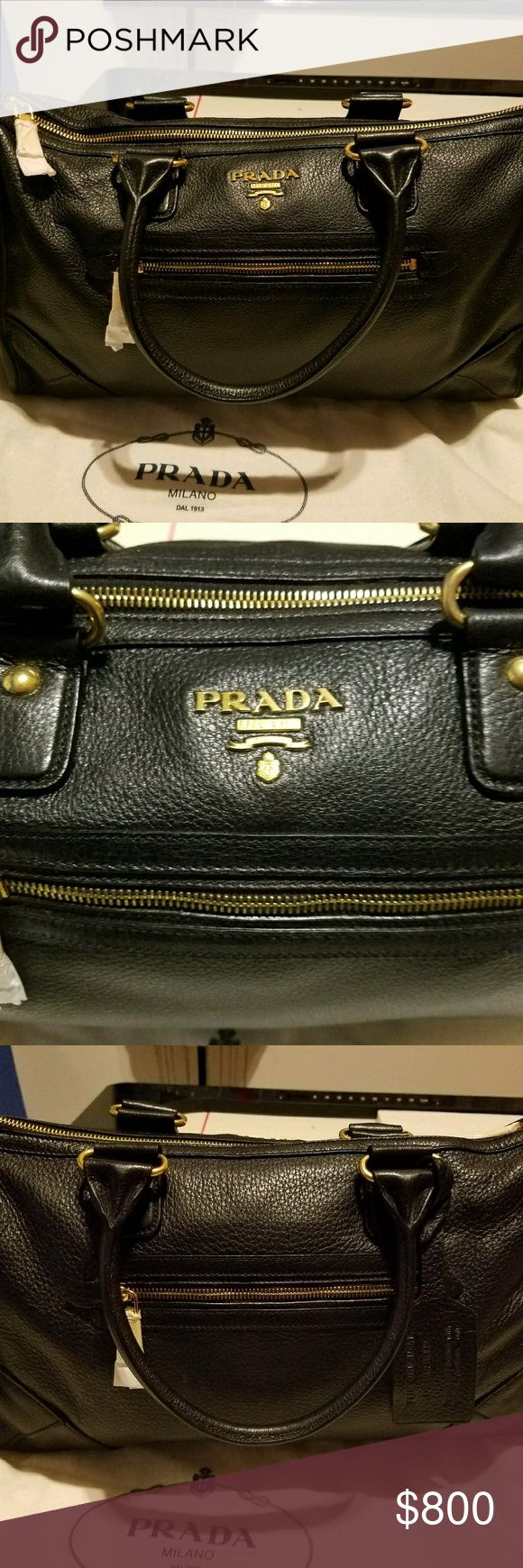 Prada Satchel Cervo Antik color Nero Authentic brand new. Deerskin. I have the card. Prada Bags Satchels