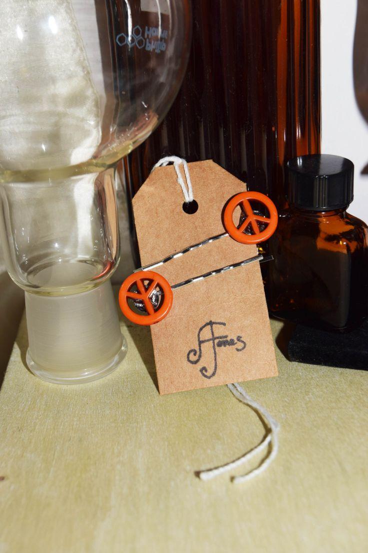 Orange #Peace Symbol Hair Slides | #HairClips by AeysheaJones on Etsy