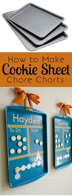 How to make DIY Cookie Sheet Chore Charts + link to Free Printable. Cheap, easy way to get kids motivated to help out with the family chores!