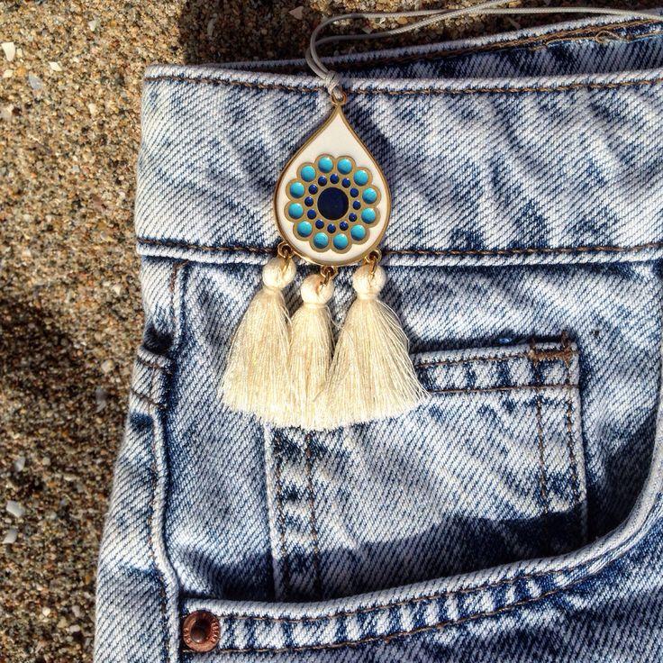 Handmade necklace. Boho style. Tassels.
