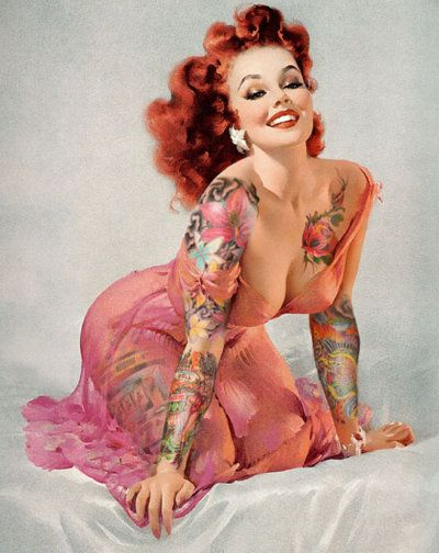 <3 Tattoo Pin Up <3: Girls Tattoo, Red Hair, Vintage Pin, Pinup Girls, Pin Up Tattoo, Gil Elvgren, Vintage Tattoo, Pin Up Girls, Red Head