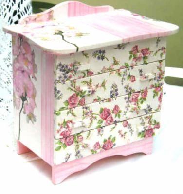 caja cajonera joyero en decoupage caja cajonera joyero en decoupage fibrofacil,decoupage,madera decoupage