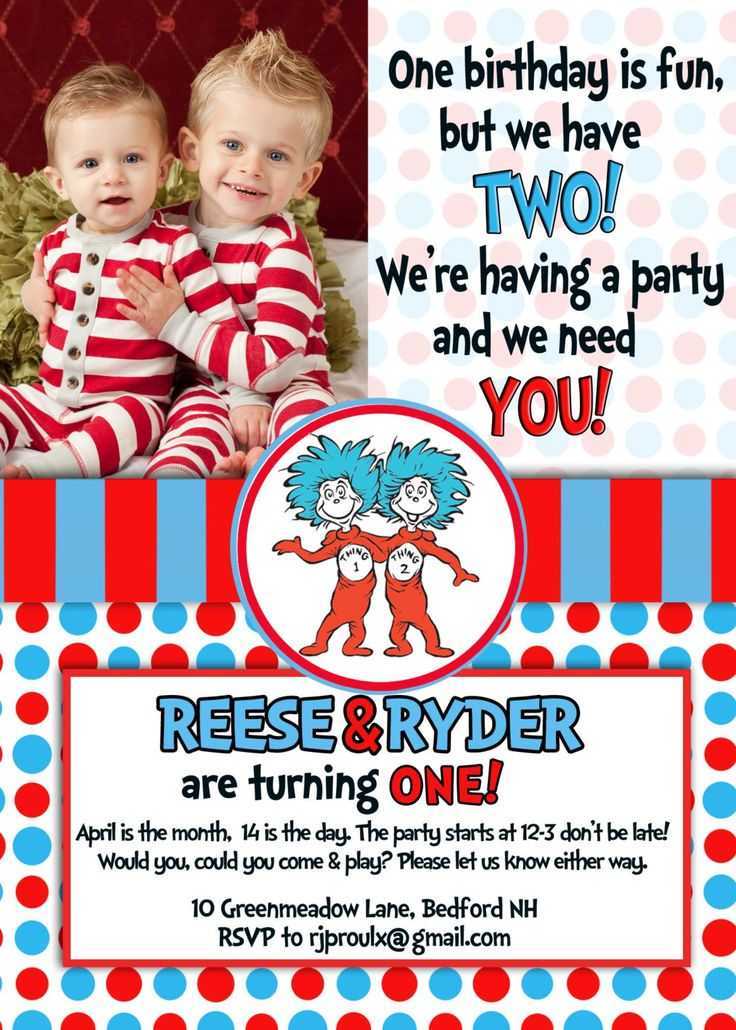 Dr. Seuss Thing 1 & Thing 2 - Twins Birthday Invitation. $12.00, via Etsy.