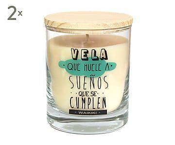 Set de 2 velas aromáticas con vaso de cristal Sueños