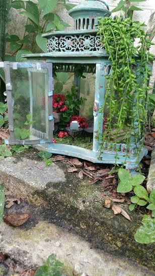 Garden Lantern Fairy House by FairylandRealty on Etsy