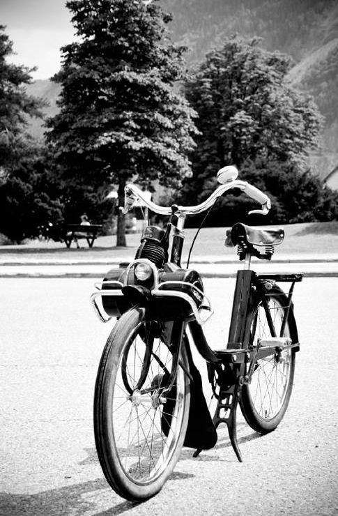 .de solex, bicycle, motorized, bike, wheels, cool, transportation, photography, photo b/w.