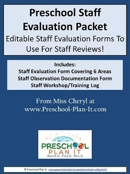 Preschool Teacher Evaluation Packet--A Staff Evaluation form that covers 44 areas of professionalism plus an observation form!