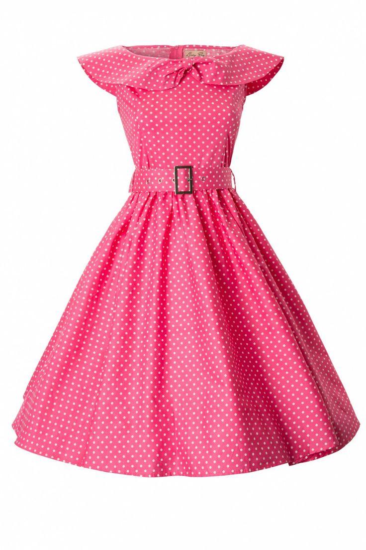 De1950's MaryLou Pink Polka Dot Bow Sjawl Collarstyle swing party rockabilly dress van Lindy Bopis een prachtige classy swing dress met speelse accenten! Geïnspireerd op de elegante jaren 50 stijl van Grace Kelly.Uitgevoerd in een luchtig katoen met een lichte stretch in polkadot print. Voorzien van eenelegante sjaalkraag die in het midden als strik is samengenomen. Vanaf de taille loopt de jurk uit in mooie volle cirkelrok. Wijd genoeg om...