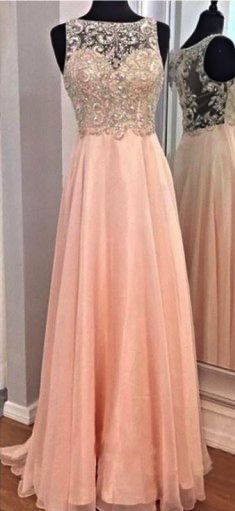 Pink Beaded Chiffon Long Prom Dress