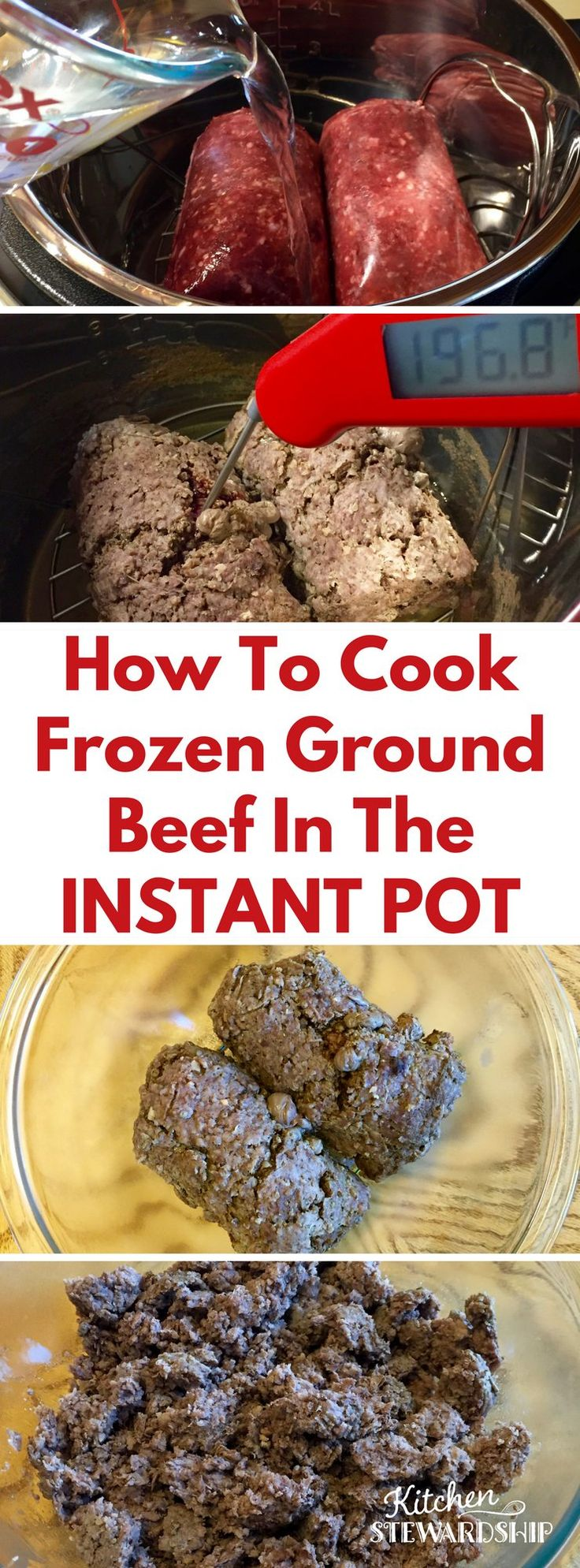 Forgot to thaw your frozen ground beef? Never fear! The Instant Pot is here! You can cook up to 5 pounds of easy, amazing ground beef in your electric pressure cooker even if it's FROZEN!