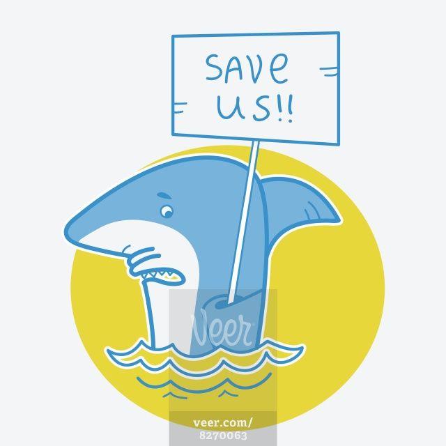 Save sharks.Vector card illustration on white Stock Illustration - Veer.com