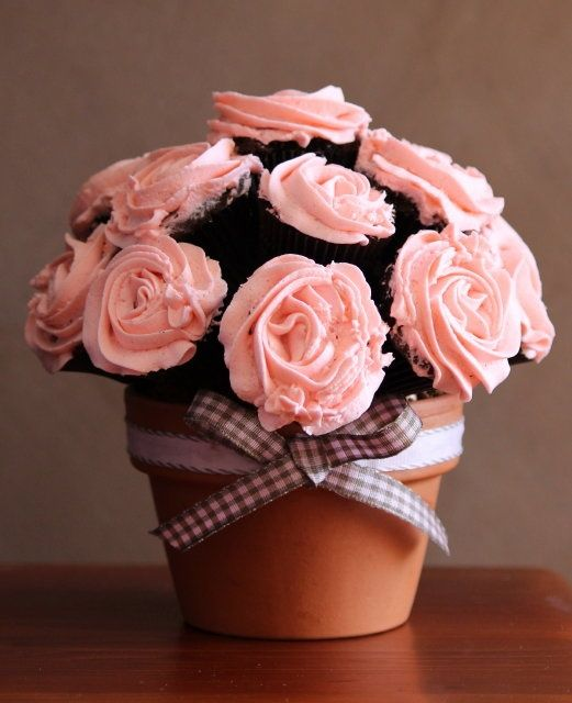 cupcake pot of flowers - Google Search