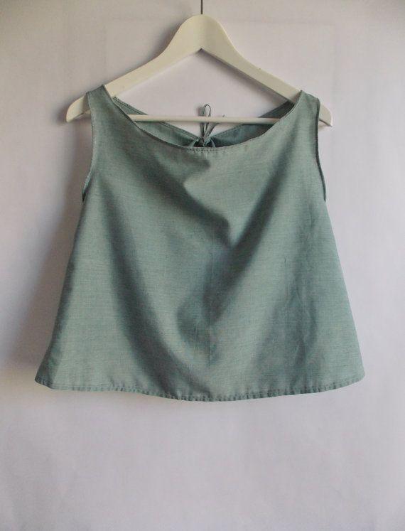 Sage Green Cotton Women's Crop Top SIZE 8-10