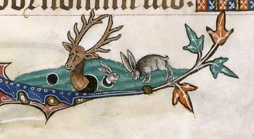 Additional evidence for this theory could come from the overwhelming number of rabbits that feature in the Gorleston Psalter, seen occasionally in their warrens – a possible visual pun on the Earl's family name (see below, and the bas-de-page of the Beatus page, at the top).