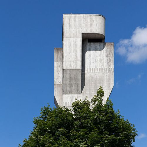 Campanile of the Church St Anton (1968) in Münchwilen, Switzerland, by Karl Higi