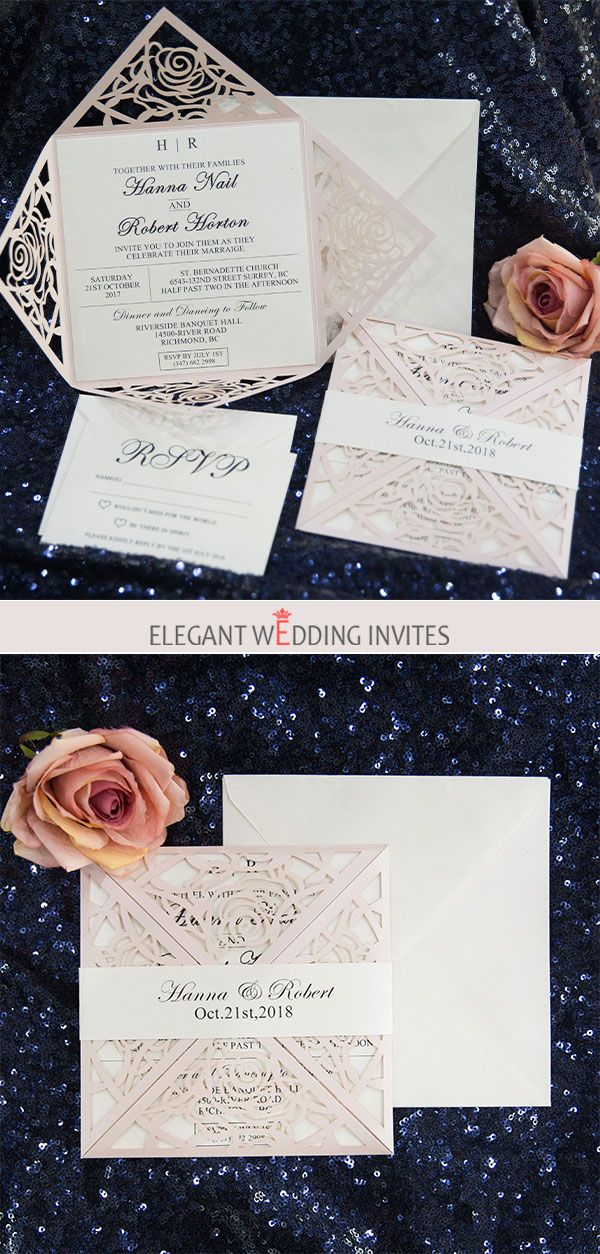 vintage wedding invitation text%0A as low as       classic unique blush pink rose laser cut wedding invitation  suite EWWS
