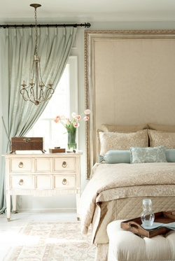 Great color combo; beige and mint. Peaceful bedroom. - so sweet, thinking with coral for girls; they would love the chandelier!