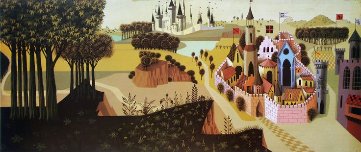 "Eyvind Earle - background for Disney's ""Sleeping Beauty""."