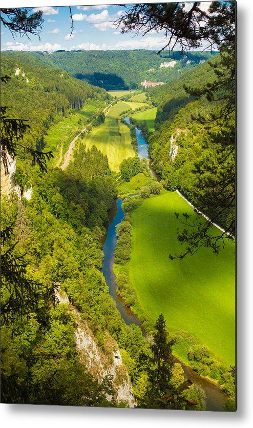 Green Donautal (Danube Valley) in Germany, Metal Print for sale. Wonderful view from Knopfmacherfelsen rock towards Beuron, bright green trees and meadows, blue danube. Art for your Home Decor and Interior Design by Matthias Hauser.