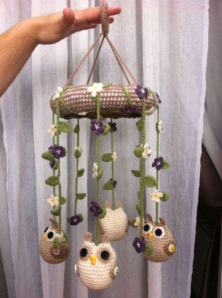 Girls / Boys handmade crochet baby / childs nursery bedroom cot mobile owls
