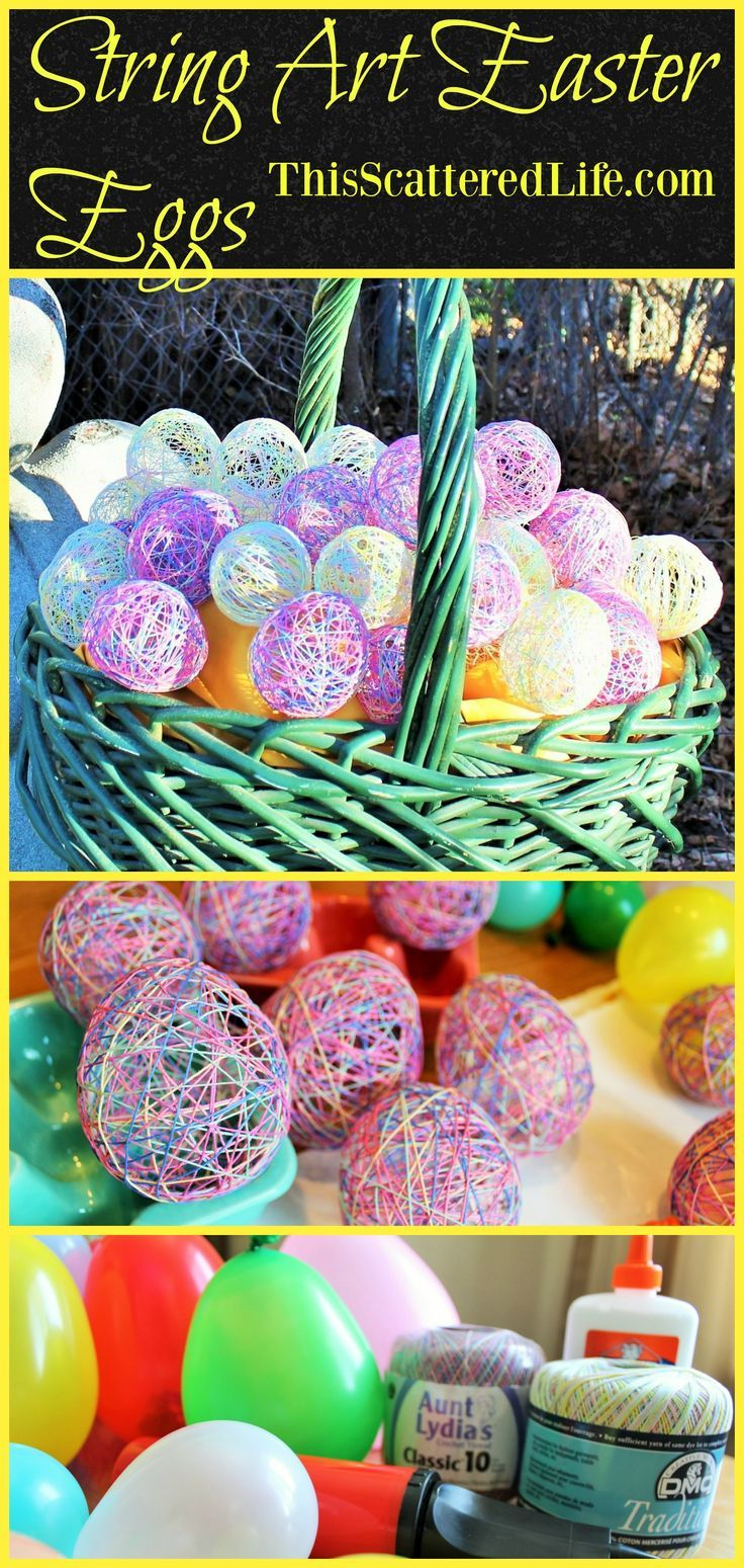 Has it been awhile since you spent a few hours playing with balloons and glue? It might be time to make these String Art Easter Eggs! ~ ThisScatteredLife.com