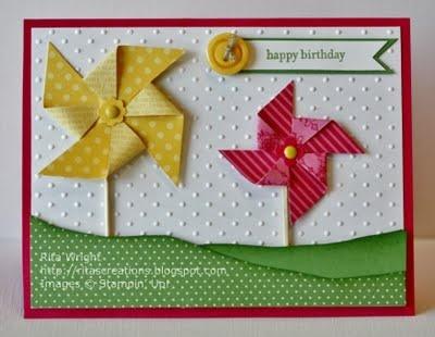 I enjoy making cards.: Cards Ideas, Pinwheels Cards, Cards Scrapbook, Kids Cards, Cards Birthday, Cards Pinwheels, Cardmaking Ideas, Cards Embossing, Birthday Kids