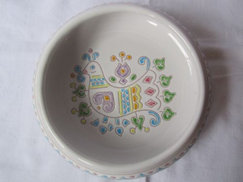 Vintage Scicillian Sardinian Ceramic Bowl Retro Folk Art Tableware