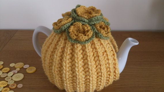 Yellow hand knitted tea cosy with yellow by DottyKnits on Etsy