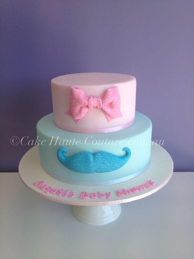 Wordt het een jongen of een meisje? Deze taart met een blauwe snor en roze strik om te onthullen wat het geslacht is op de babyborrel